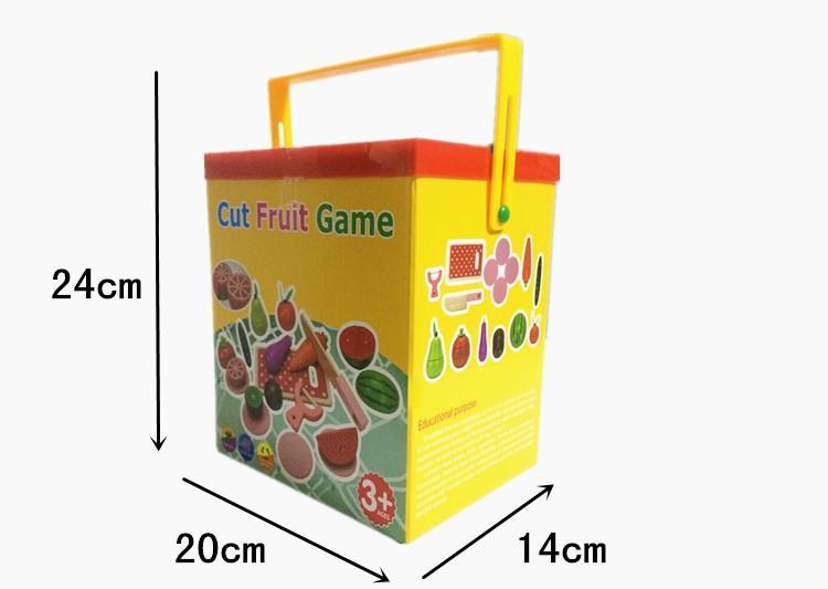 Juguete de frutas en madera con caja