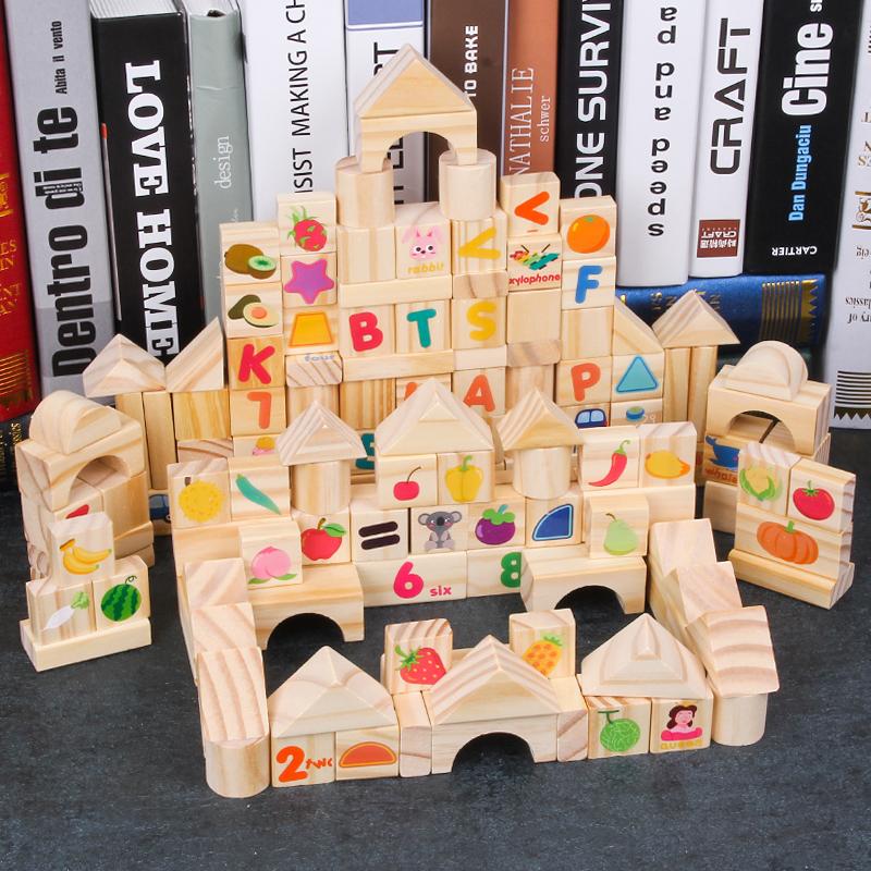 100 bloques de madera juguete didáctico