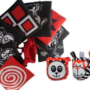Tarjetas y sonajeros de estimulación blanco, rojo y negro
