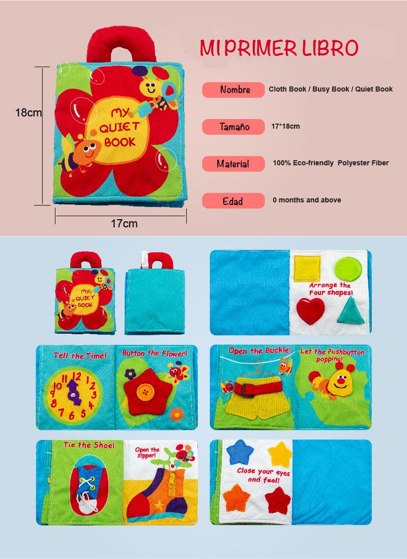 Características de primer libro de tela para bebés