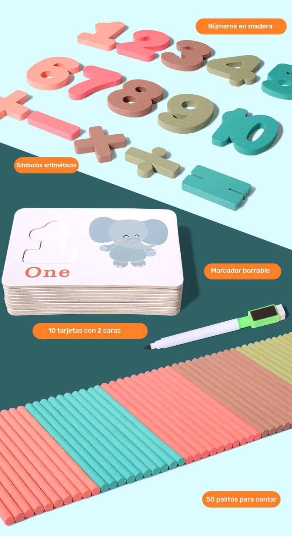 Tarjetas plastificadas borrables para aprender a contar, sumar y restar con marcador borrable y números en madera