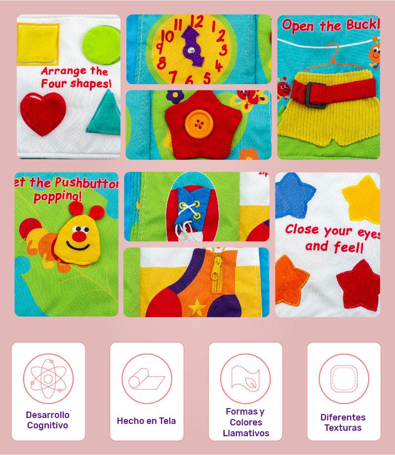 Libro en tela de actividades y texturas para bebés
