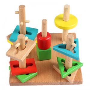 5 torres geométricas de apilar tipo Montessori