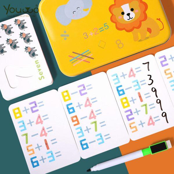 Tarjetas plastificadas borrables para aprender a contar