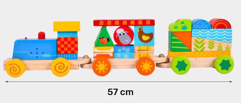 Tren de madera de juguete con bloques para armar